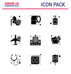 Covid19-19 icon set for infographic 9 solid glyph vector