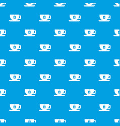 cup of tea with tea bag pattern seamless blue vector image