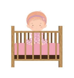 Cute bagirl inside cradle design vector