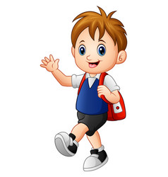 cute boy walking to school vector image