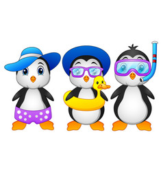 cute cartoon penguins in summer holiday vector image