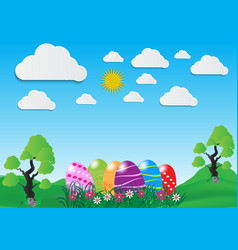 Decorative easter eggs on green grass and white vector