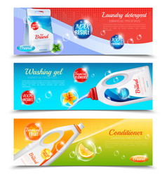 Detergents clothes horizontal banner set vector