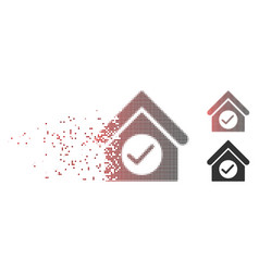 Disintegrating pixel halftone check building icon vector