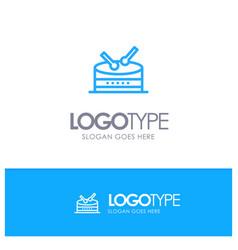 drum celebration blue logo line style vector image