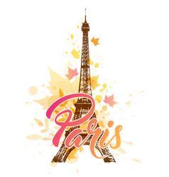 Eiffel tower and falling leaves vector