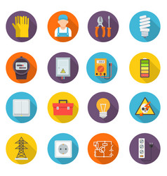 electrician icon set professional symbols vector image