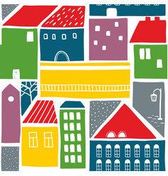 Endless colorful background with old houses in the vector