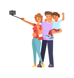 family making a selfie vector image
