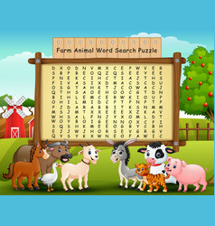 farm animals word search puzzle vector image