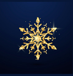 festive golden snowflake isolated on dark vector image