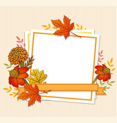 floral fall frame with leaves vector image