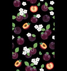 fresh purple plum seamless pattern with white vector image