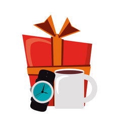 giftbox with male wristwatch and coffee mug vector image