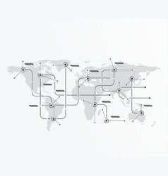global network concept world map with lines vector image