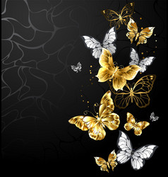 Gold and white butterflies vector