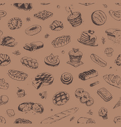 hand drawn confectionery and bakery pattern vector image