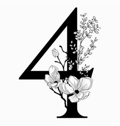 Hand drawn floral number four monogram and vector