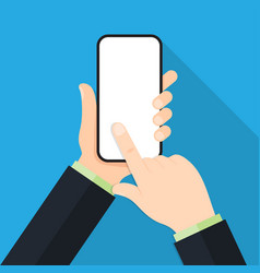 hand holding black smartphone touching blank vector image