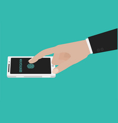 hand touching smartphone screen vector image