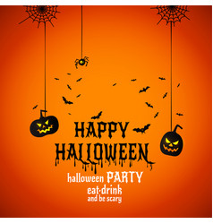 happy halloween text banner with spiders vector image