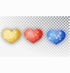 hearts glitter texture set red gold blue vector image