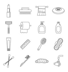 Hygiene tools icons set outline style vector