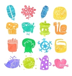 Icons Set of Watercolor Cartoon Objects and vector image