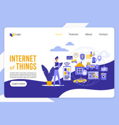internet things landing page template vector image