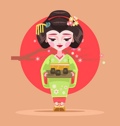Japanese geisha character hold tea vector