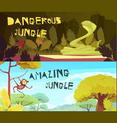 jungle horizontal cartoon banners vector image