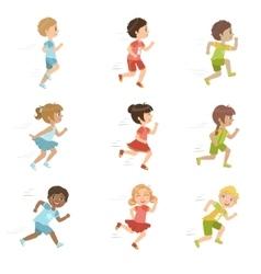 Kids running set vector