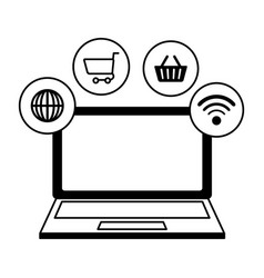 laptop computer with ecommerce icons vector image