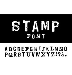 Latin stamp font stamp abc with vector