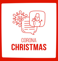 lets talk about coronavirus and christmas doodle vector image