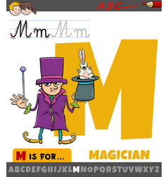 Letter m from alphabet with cartoon magician vector