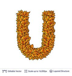 Letter u sign of autumn leaves vector
