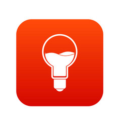 Light bulb with blue water inside icon digital red vector