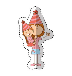 Little kid and mom with party hat icon vector
