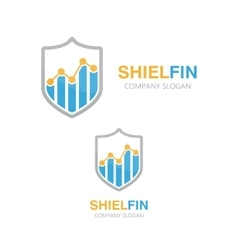 logo combination of a graph and shield vector image
