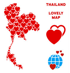 lovely thailand map composition of hearts vector image