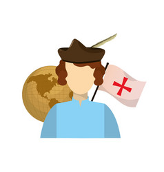 Man with global map desk and flag cross vector