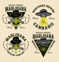 Marijuana growing set emblems with alien vector