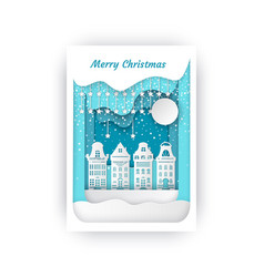 merry christmas cut out paper buildings cityscape vector image