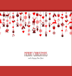 merry christmas vintage decoration elements in red vector image vector image