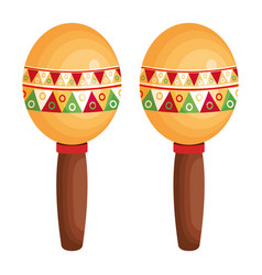 mexican maracas isolated icon vector image