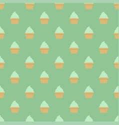 mint cream cup cake seamless green pattern vector image