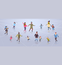 mix race people at ice-skating outdoor rink winter vector image