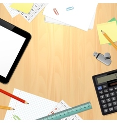 Office desk with business and office supplies vector image