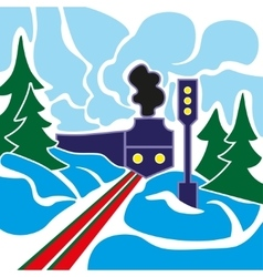 Old train and winter landscape vector image